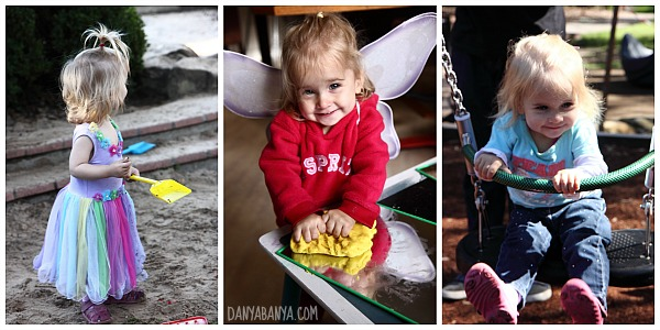 Sandpit, play dough and swings