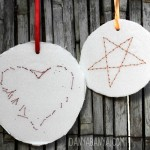 Hand sewn heart and star decorations.