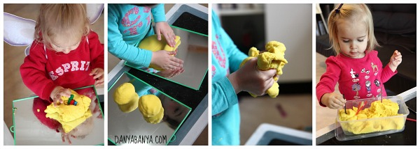 Playing with lemon scented play dough