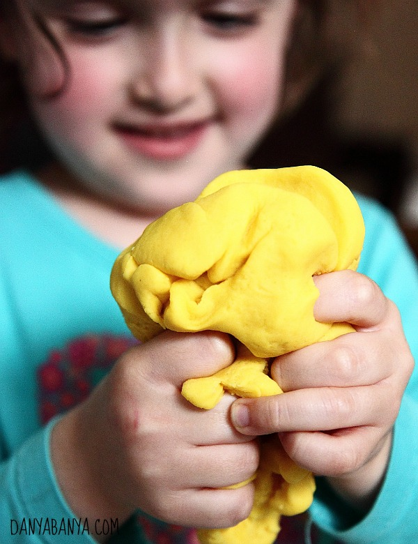 Squeezing the play dough