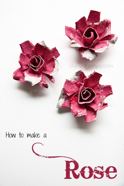 How to make roses from an egg carton by Danya Banya