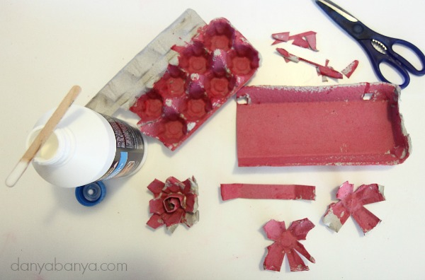 Making egg carton roses