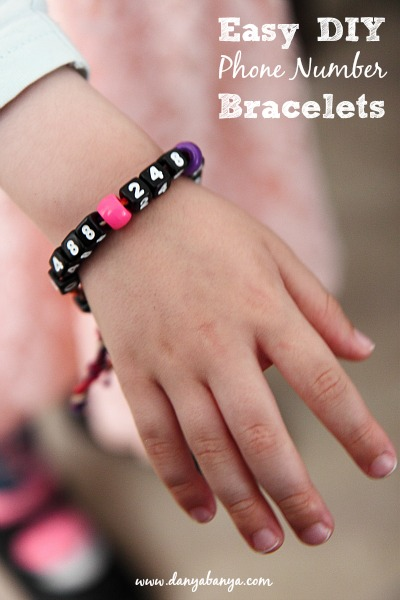 Easy DIY Cell Phone Number Bracelets
