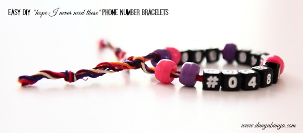 Hope I never need these phone number bracelets
