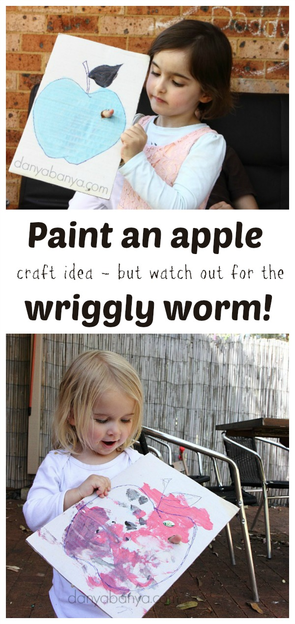 Paint an apple craft idea for kids - but watch out for the wriggly worm!