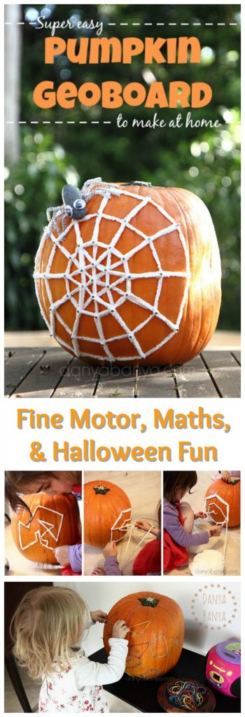 Pumpkin Geoboard - fine motor, math, & Halloween fun for kids. Also makes a super cute door stop!!