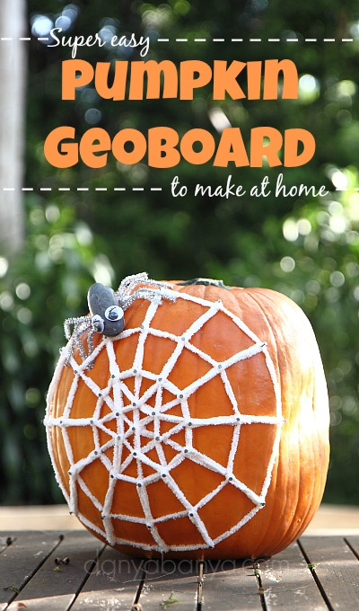 Super easy pumpkin geoboard to make at home