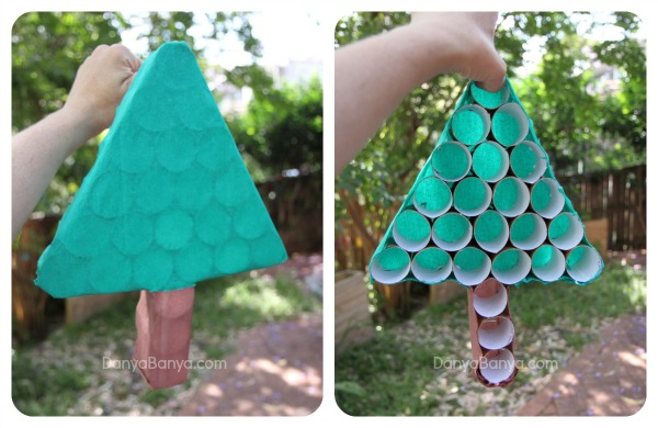 Front and back of the toilet paper roll Christmas tree