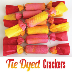 Tie dyed Christmas crackers from the craft train