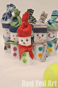 Toilet-Roll-Snowmen Red Ted Art