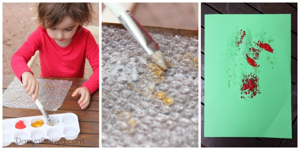 Bubble wrap painting and stamping