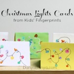 Christmas Lights Cards from Kids' Fingerprints