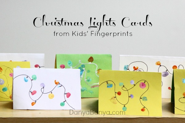 Christmas Lights Cards from Kids Fingerprints ~ Danya Banya