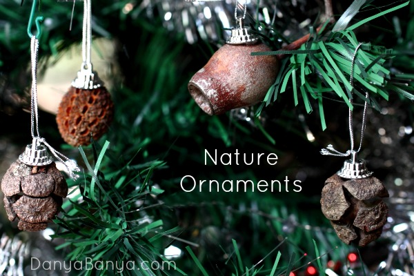 Christmas ornaments made from collected natural materials