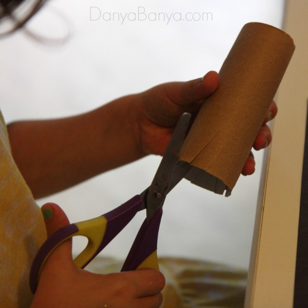 Cutting a toilet paper roll fireworks stamp