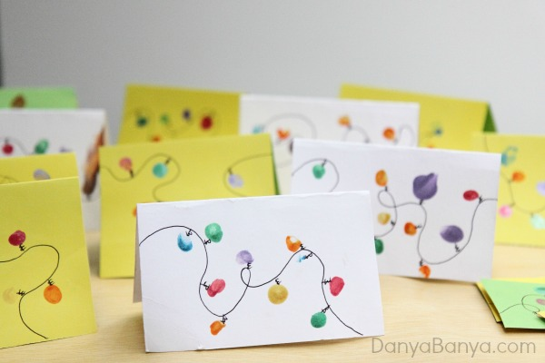 DIY Kids Fingerprint Christmas Lights cards