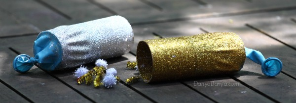 DIY glitter party poppers for kids