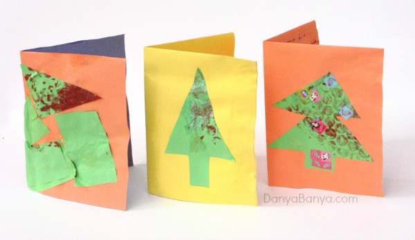 Easy Christmas cards made by a preschooler ~ Danya Banya