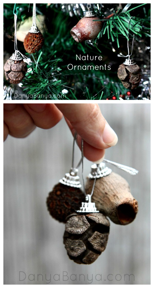 Easy DIY nature Christmas ornamants using seed pods, gumnuts and other natural items