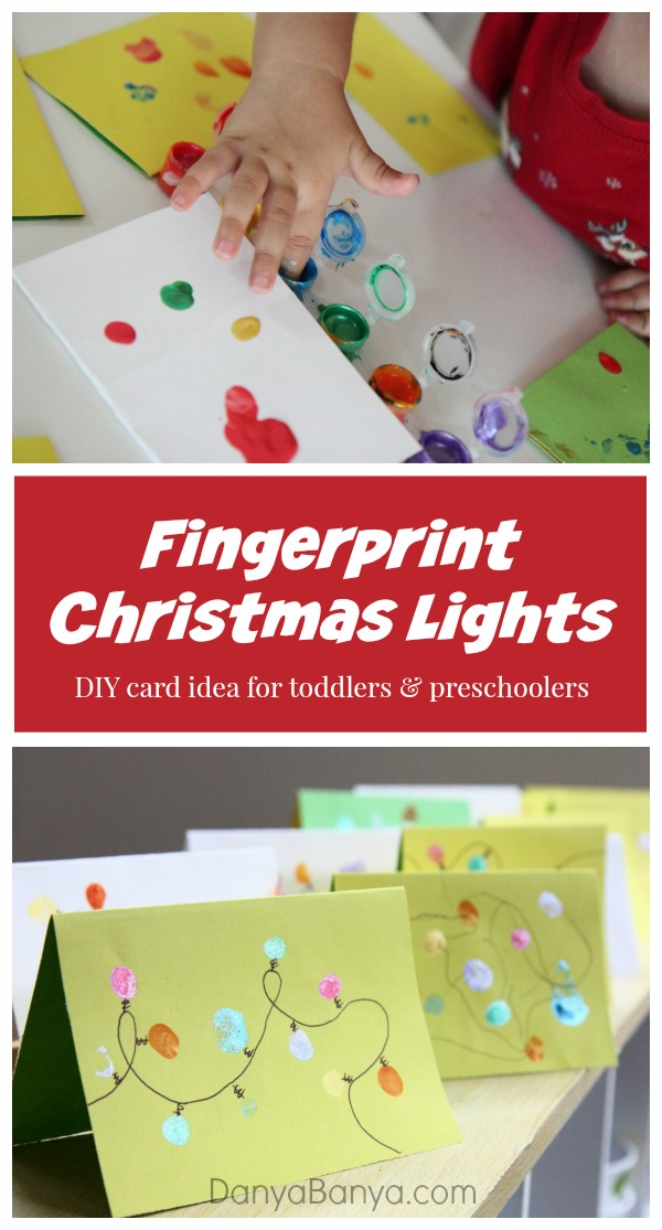 Fingerprint Christmas lights DIY card idea for toddlers and preschoolers ~ Danya Banya
