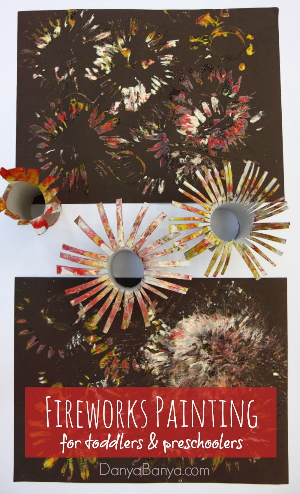Easy fireworks painting for kids danya banya for New year s crafts for preschoolers
