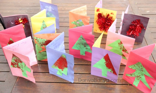 Homemade Christmas cards that preschoolers can make