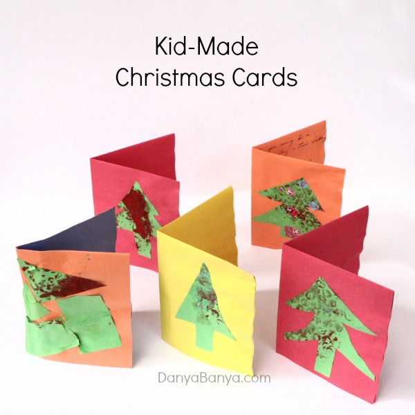 Kid made Christmas Cards using bubble wrap details ~ Danya Banya