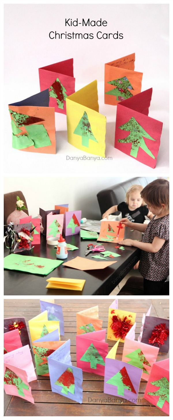 Kid-made bubble wrap print Christmas cards - fun process art Christmas activity for kids