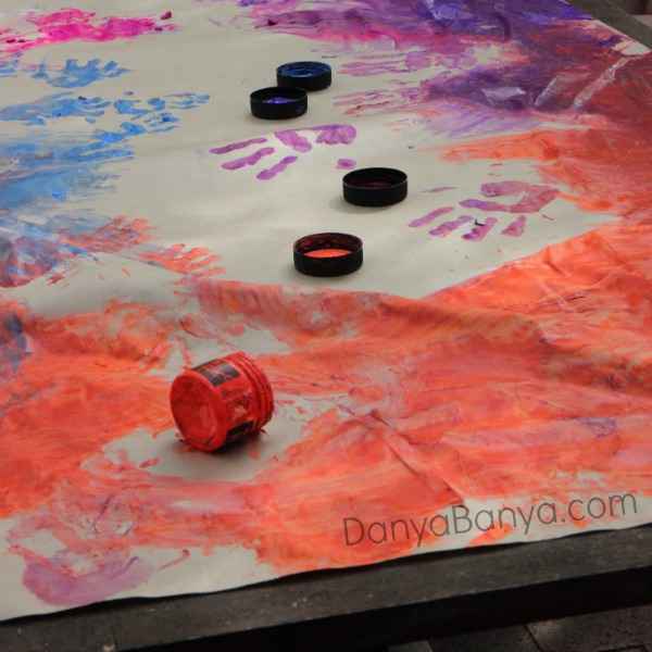 Making finger paint wrapping paper