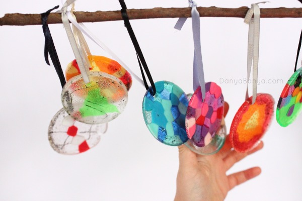 Pony bead ornaments would also work well as wind chimes, as they make a gentle clinking sound