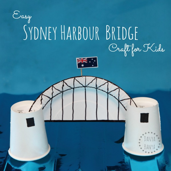 Easy paper plate Sydney Harbour Bridge craft for kids - great for learning about Australia and famous Australian icons.