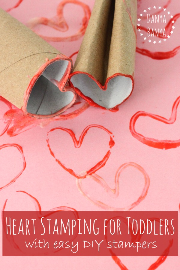 Heart Stamping for toddlers with easy DIY stampers ~ Danya Banya