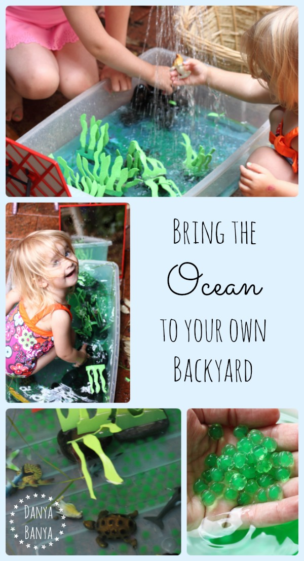 Kids can bring the ocean to their own backyard this summer, with under the sea themed small world water play ~ Danya Banya