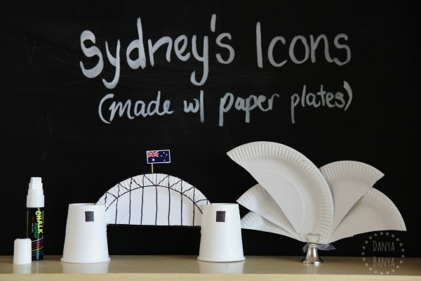 Sydney Icons - the Sydney Harbour Bridge and the Sydney Opera House (made with paper plates)