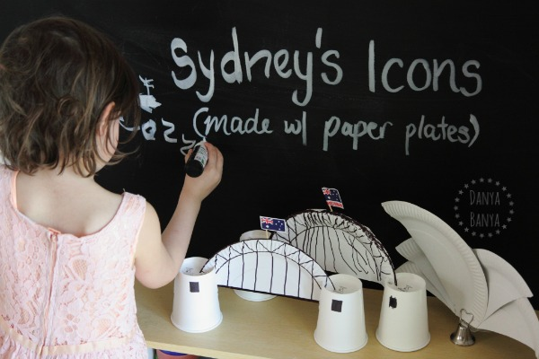 Sydney icons made with paper plates`