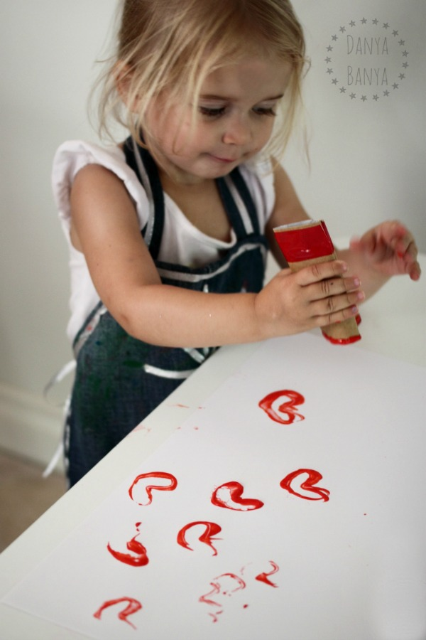 Toddler valentines activity - stamping hearts using diy heart shaped stampers