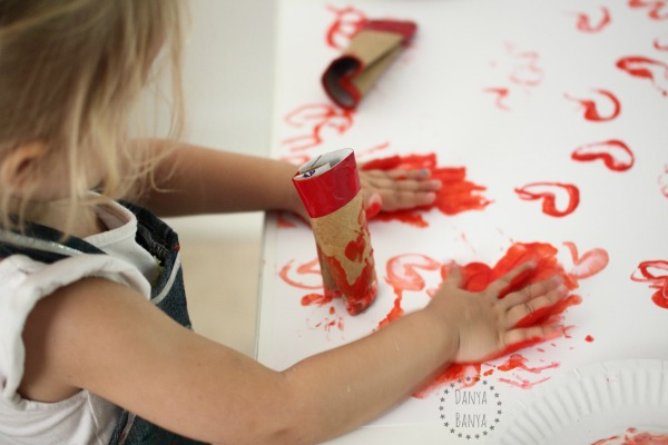 Toddler valentines art becomes sensory