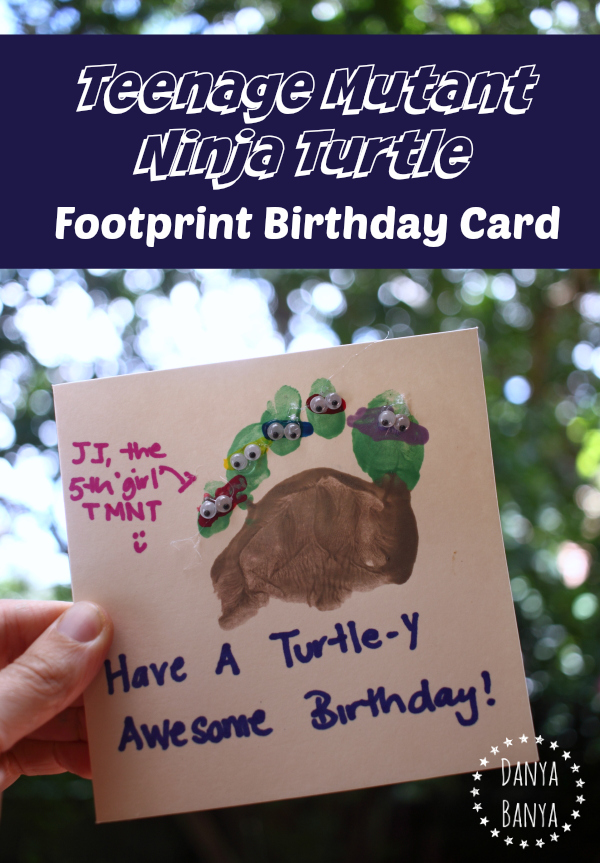 Teenage Mutant Ninja Turtle footprint birthday card