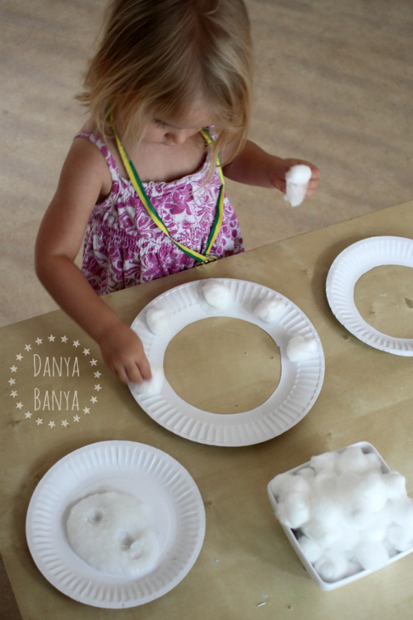 Toddler pasting activity - make a sheep mask from cotton wool and paper plates