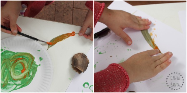 Painting and printing a leaf