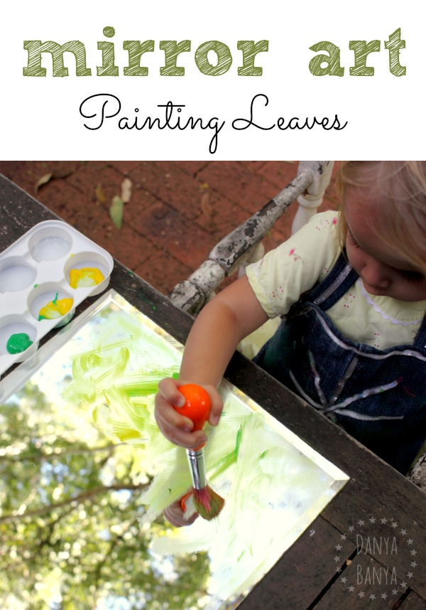 Mirror Art painting leaves activity for toddlers