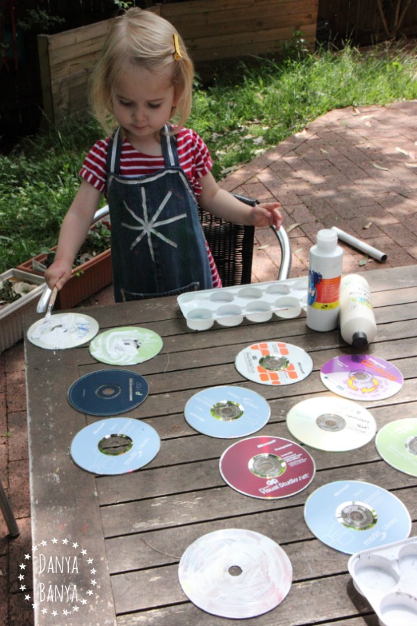 Painting upcycled CDs