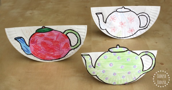 Tipping teapots made by a toddler, a kindergartener and a mum
