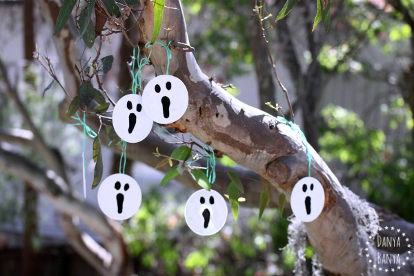 Upcycled CD Ghost decorations for Halloween