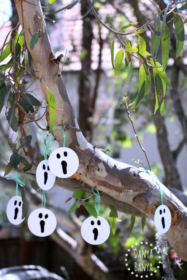 Upcycled CD ghost decorations