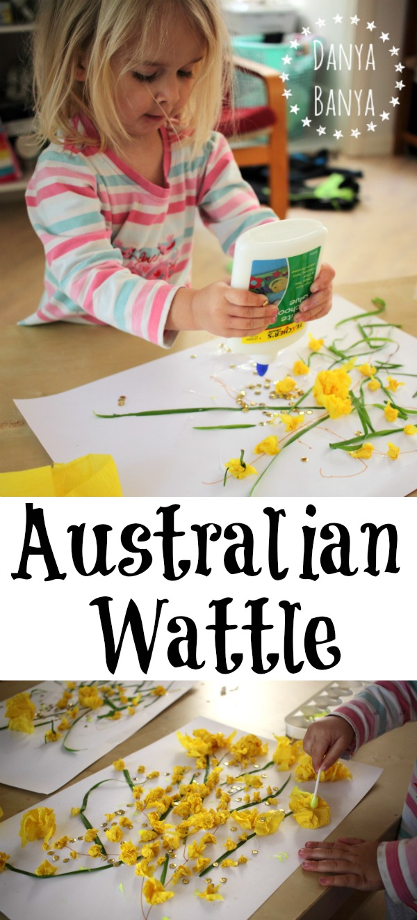 Australian Wattle collage art for kids