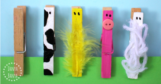 Make farm animals using simple wooden pegs