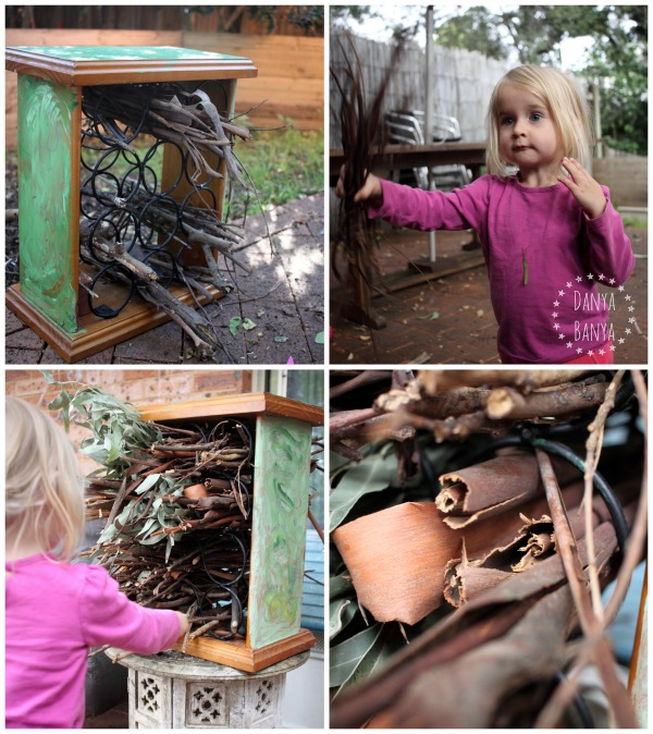 Toddler and preschooler made bug hotel