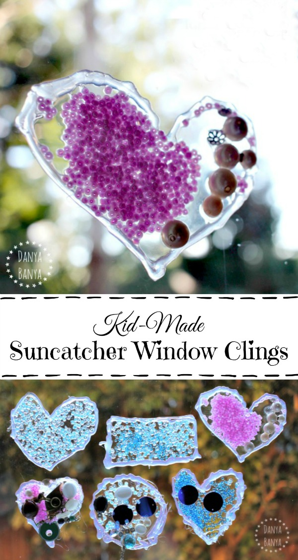 Beautiful Kid-made Suncatcher Window Clings with beads and sequins