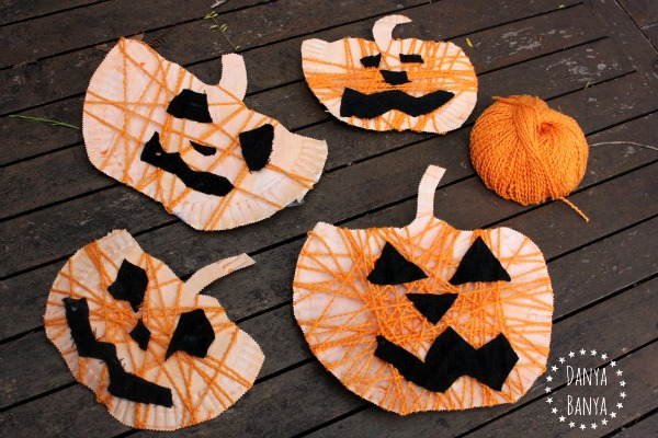 Paper plate and yarn jack-o-lantern kids craft for Halloween